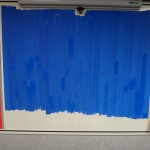 Laying on the blue! (Approximately 1,000% more efficient than dry erase if you factor in both width and arm movement)
